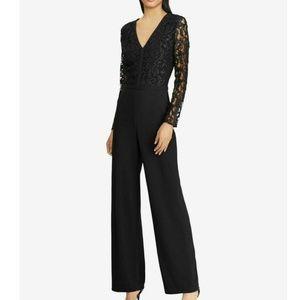 NWT $200 Ralph Lauren SIZE 12 Black Lace Jumpsuit